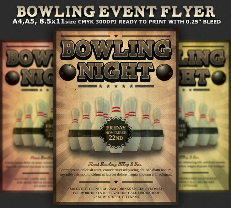 bowling event party flyer template cares pinterest flyers flyer template and parties. Black Bedroom Furniture Sets. Home Design Ideas