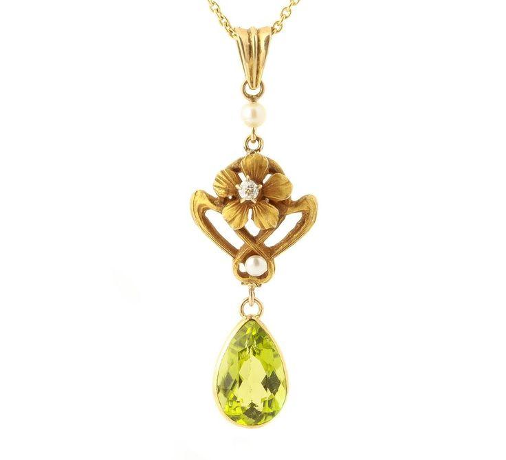 Antique Art Nouveau 14k Gold Peridot Diamond Flower Lavalier Necklace 030716120