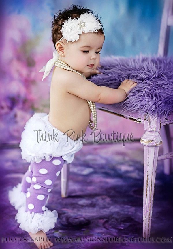 purple with white polka dots ruffled baby and by ThinkPinkBows, $8.95