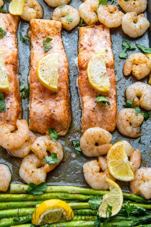 Baked Salmon Shrimp and Asparagus by valentinascorner: One pan. #Salmon #Shrimp #Asparagus #Healthy #Easy