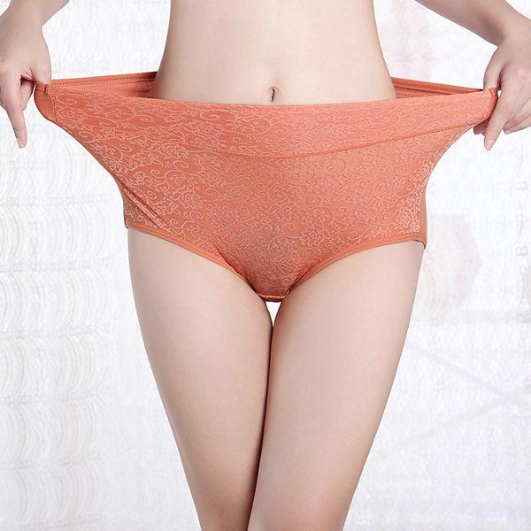 Women Large size Super Elastic Cotton Jacquard Mid Waist Briefs Panties Underwea…