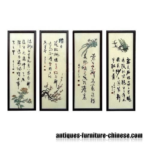 Oriental Decor Lacquer Hanging Panel with Chinese Traditiona