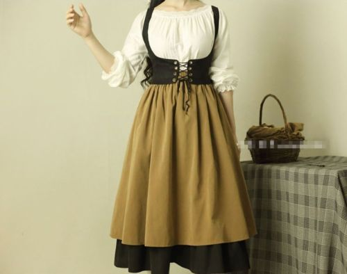Victorian Skirt Corset Blouse/top Servant Maid Girl Fancy Dress Costume Outfit