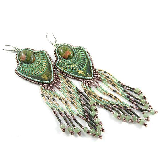 Long green gold earrings  bead embroidery  jasper by Taurielscraft, $79.00