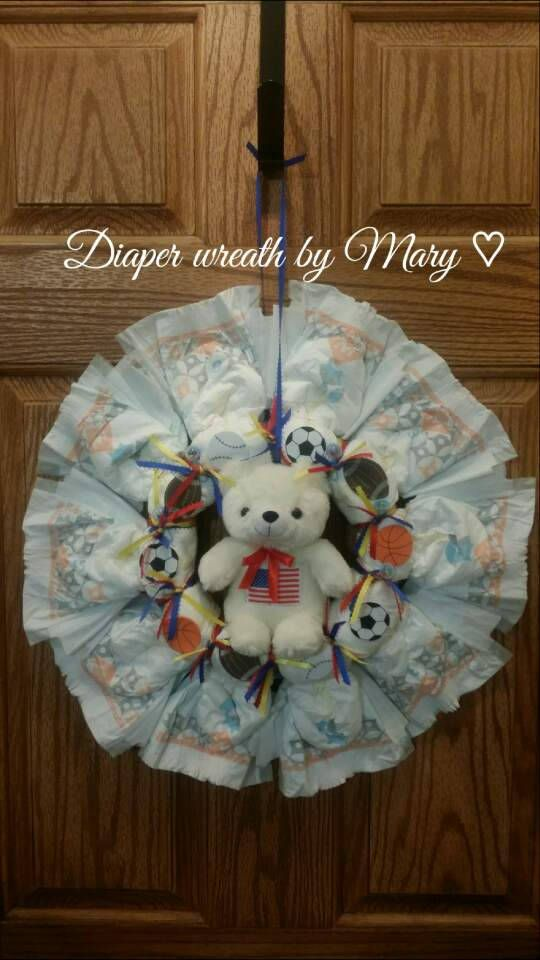 Diaper wreath Sports diaper wreath for baby shower and new