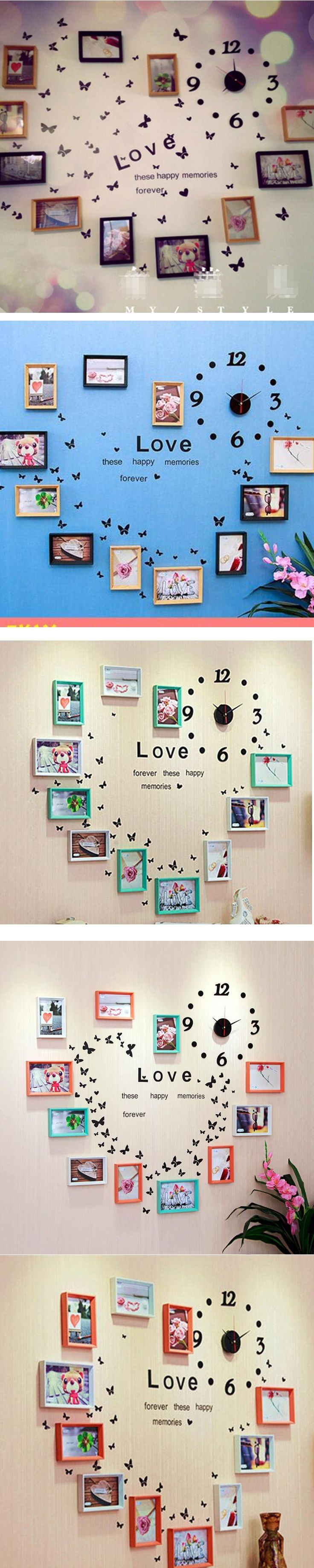 Best 25 picture frame clock ideas on pinterest picture wall 11pcs modern photo frame wall art decor combination wood clock home decoration frame picture frame 140x100cm amipublicfo Gallery