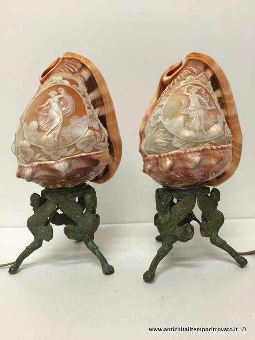 Oggettistica d`epoca - Lampadari e lampade Antica coppia di lampade con conchiglie a cammeo - Lampade lavorazione a cammeo Immagine n°1