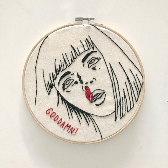 handmade pulp fiction inspired mia overdose embroidery design on 8 bamboo hoop  was watching pulp fiction and inspired to make a stitch of my favorite characters from this classic movie.  these handmade embroidery hoops look great on the wall, or sitting on windowsills or side tables. great gift for a loved one or even to treat yourself.  visit my shop for more embroidery hoop art: https://www.etsy.com/shop/stitchesxmitch  more of my designs and works in progress on instagram at…