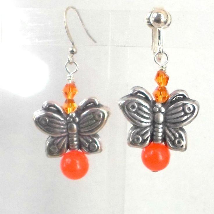 Earrings dyed orange Jade bead crystal butterfly clip or pierced choice Handmade #Pat2 #DropDangle