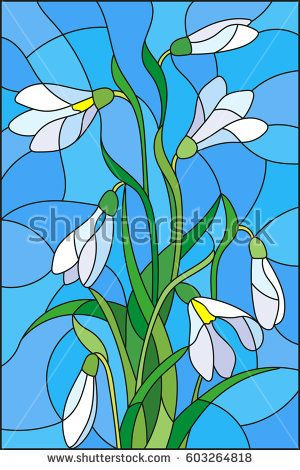 Illustration in stained glass style with bouquet of white snowdrops on a blue background