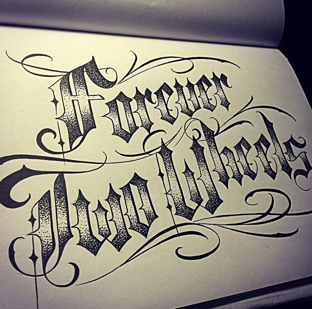 Forever two wheels tattoo lettering script for Ftw tattoo meaning
