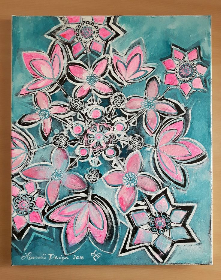 Pink-Turquoise. Painting by Hammi´s Design.