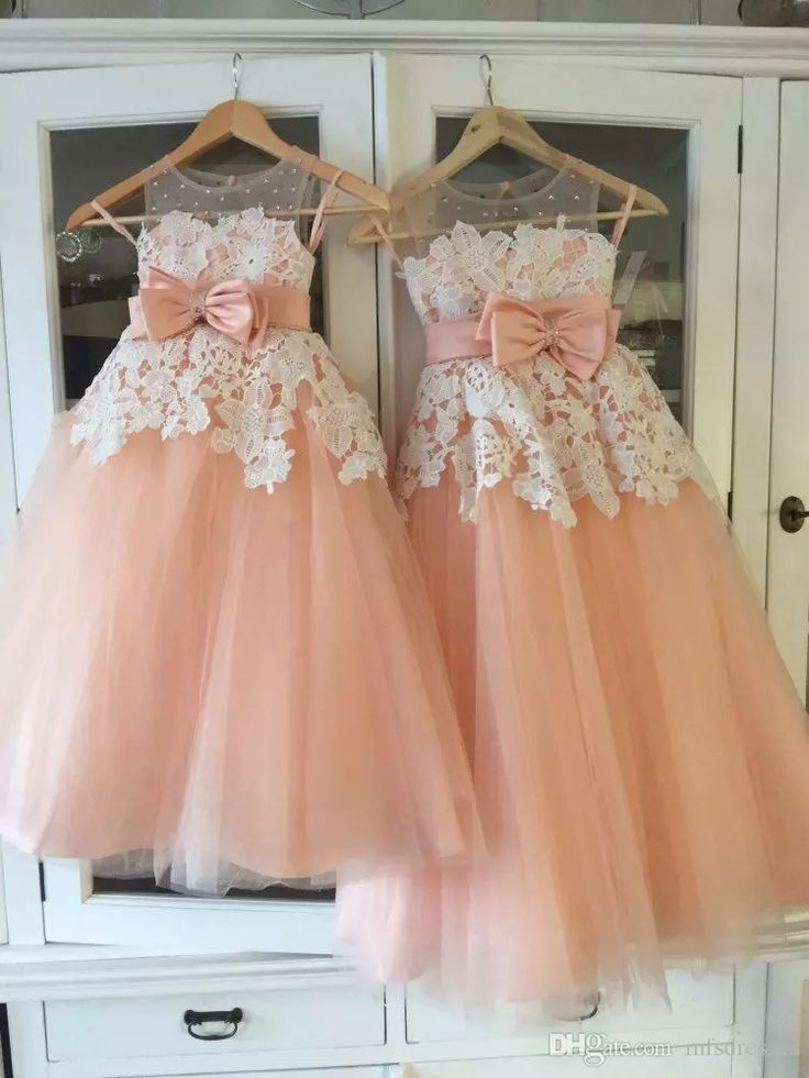 Vintage Little Flower Girls Dresses Peach Sweetheart Sleeveless Lace Appliques Sheer Neckline First Communion Dresses Girls Party Gowns Little Girl Dresses Toddler Girl Shoes From Mfsdresses, $83.84| Dhgate.Com