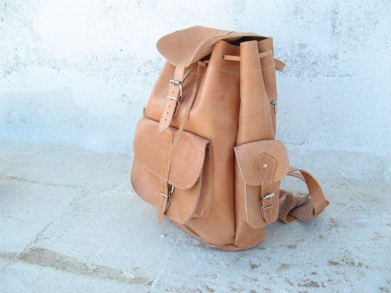 Leather Backpack Weekender/Big Backpack/Many by EATHINI on Etsy