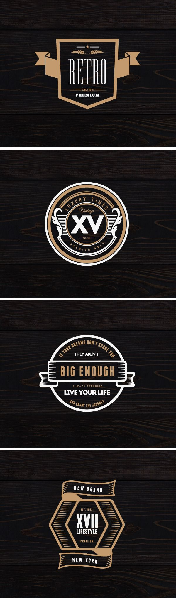 Today's special is a great set of 4 vintage logos created by DesignDistrict. You can use them on labels, posters, t-shirts...