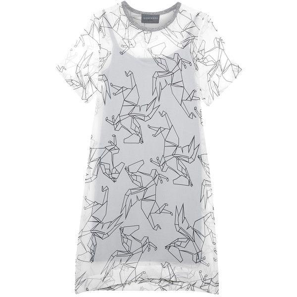 Antipodium Hackney Pegasus Silk Georgette T Shirt Dress ($350) ❤ liked on Polyvore featuring dresses, elbow length sleeve dress, slip dress, elbow sleeve dress, tee dress and crew neck dress