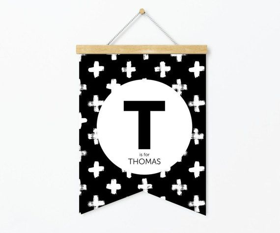 Custom Name Banner Print  Black And White by StaceyLeeLoves