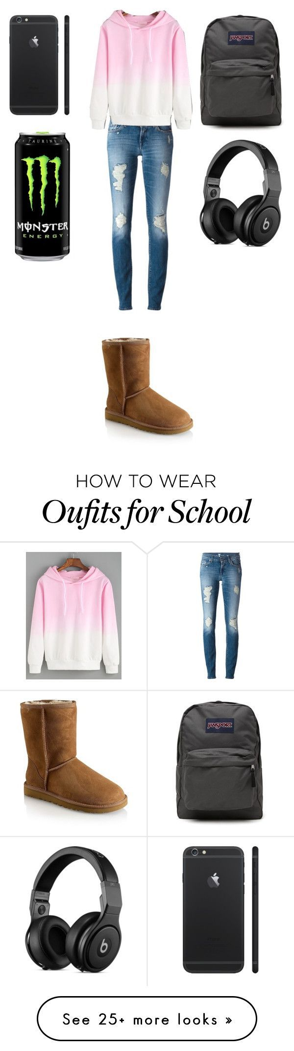 """School"" by sorry-im-me on Polyvore featuring UGG Australia, 7 For All Mankind and JanSport"