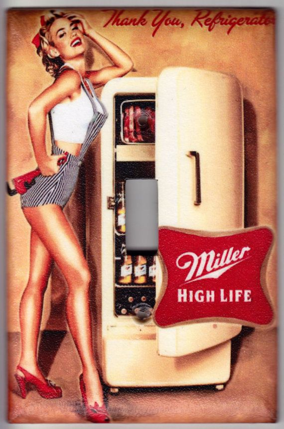 Miller High Life Beer / Vintage Pin Up Girl Poster Switchplate Cover - Single Jumbo size (445) on Etsy, £5.00