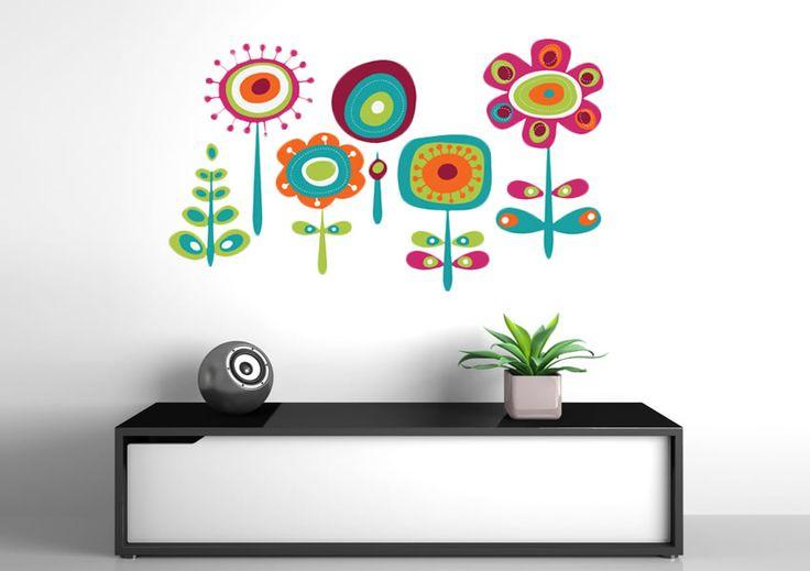 Abstract Flower Garden 05 Flowers Printed Wall Sticker