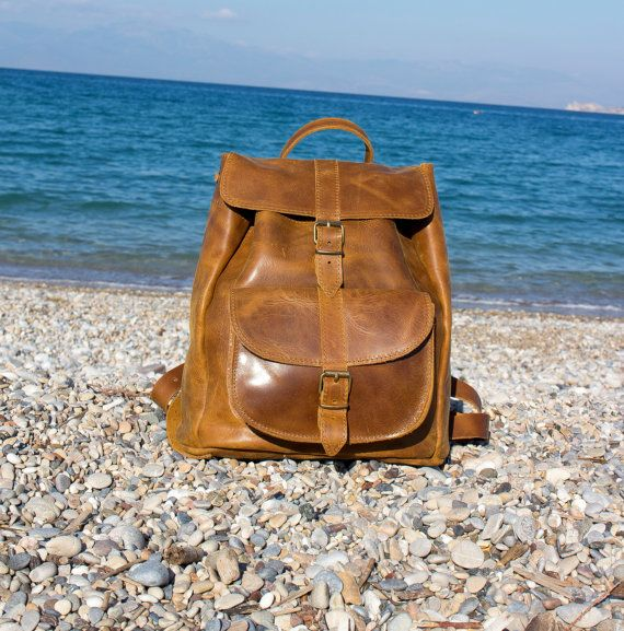 Distressed Brown Handmade Leather Backpack  by MagusLeather