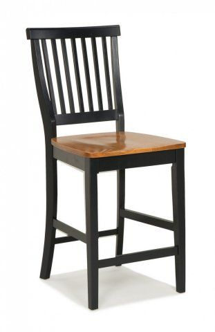24 inch Black and Distressed Oak Bar Stool