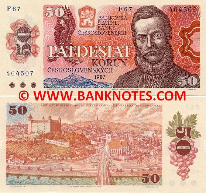 Czechoslovakia 50 Korun Ceskoslovenskych 1987  Front: The Greater Spotted Eagle (Aquila clanga) hunting. Portrait of Ludovit Štúr (1815-1856). State Bank logo. Mountains. Back: View of Bratislava with Bridge of the Slovak National Uprising (Novy Most) across the Danube River in the centre. Grape branch. Watermark: Repetitive leaves and stars. Main colours: Brown and blue on red and orange. Artist: Albin Brunovsky. Engraving: Václav Fajt; Ladislav Škarban.