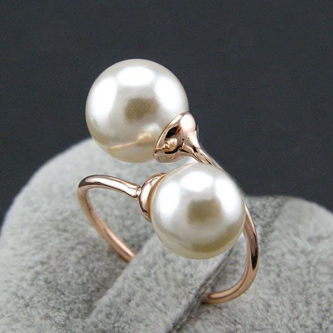 Double Pearl Wrapping Finger Cuff Ring (Adjustable) - LilyFair Jewelry