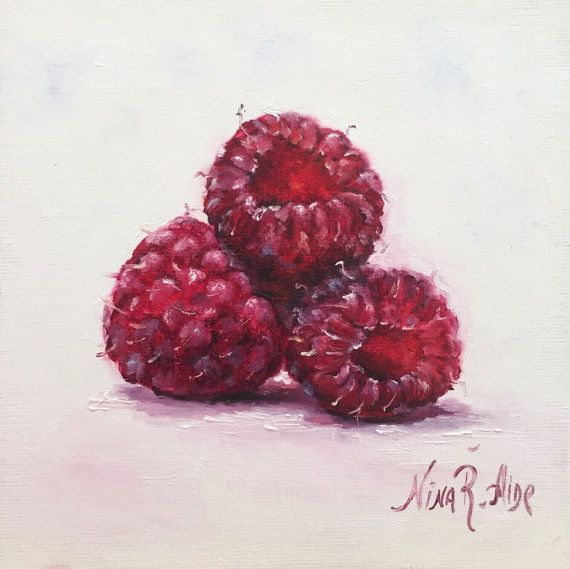 Raspberries Red Original Oil Painting Nina R.Aide 6x6 canvas Fruit Fine Art Studio Gallery Kitchen Art Small Painting Daily