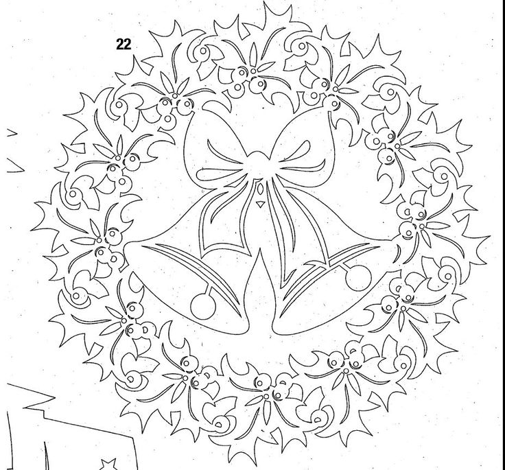 DIY: Christmas bells in holly wreath. Free Paper craft; stencil/template/pattern.
