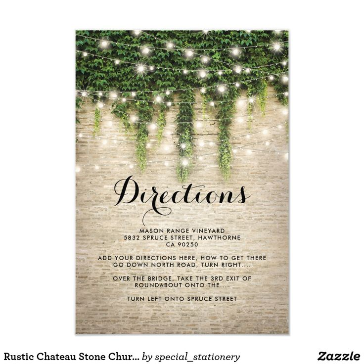 Rustic Chateau Stone Church Wedding Directions Card Magical fairytale wedding direction cards featuring a rustic stone wall background, green ivy vine with sparkling twinkle lights, and a wedding direction text template.