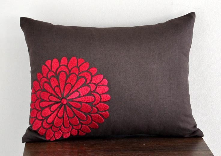Brown Linen Throw Pillow : Red flower Lumbar Pillow Cover, 12 x 16 Decorative Pillow Cover, Dark Brown linen Red Flower ...