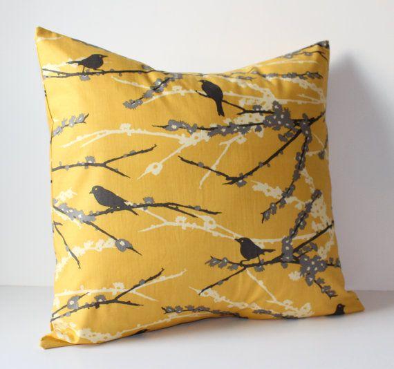 Decorative Pillows Cover - Mustard Yellow & Gray Birds - 18 x 18 Accent Cushion Cover - Home Decor - Baby Nursery Decor