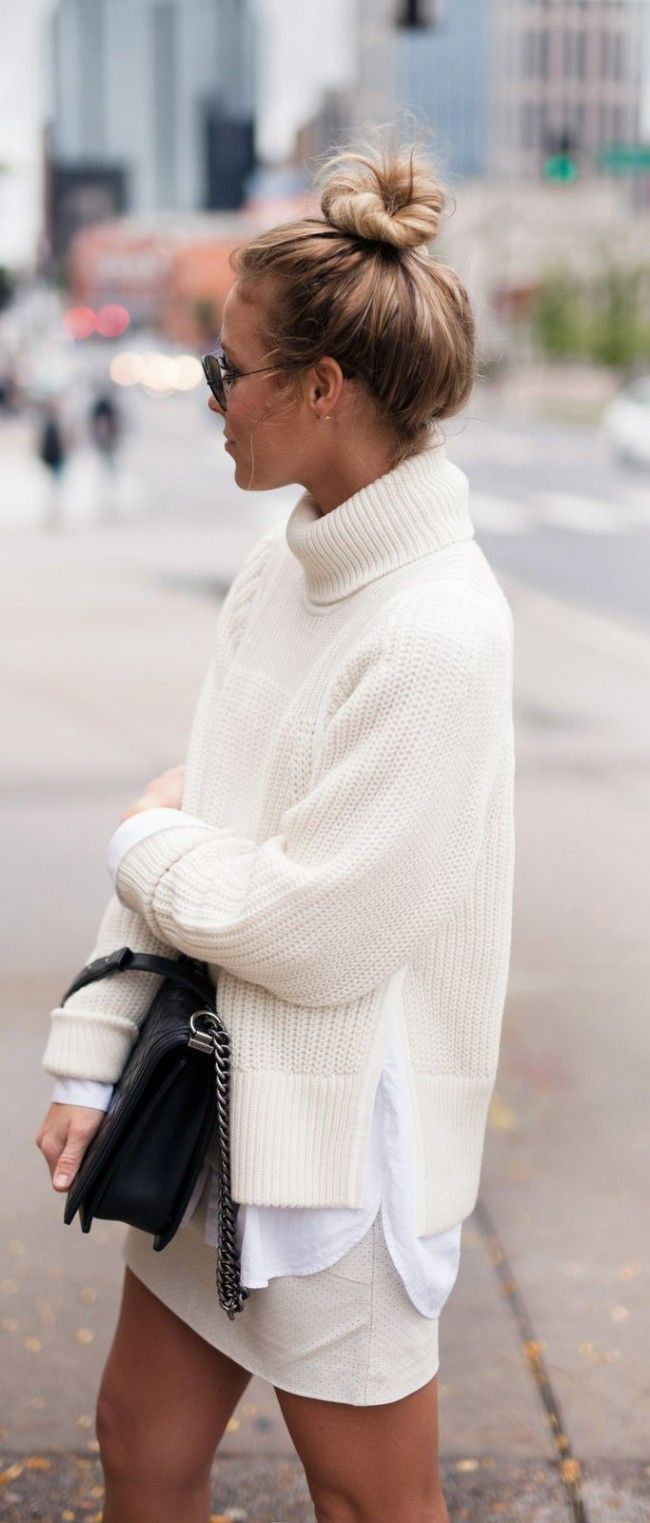Latest fashion trends: Fall look | Turtle neck off white knit sweater with mini skirt