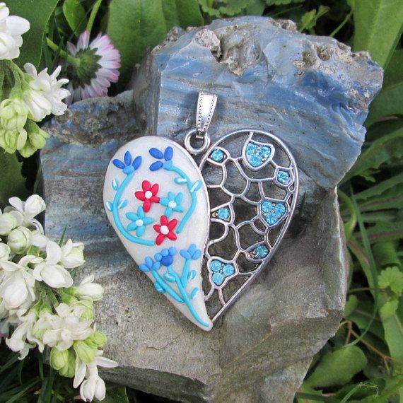 turquoise floral necklace polymer clay fashion style boho jewelry gift for her romantic heart pendant by FloralFantasyDreams