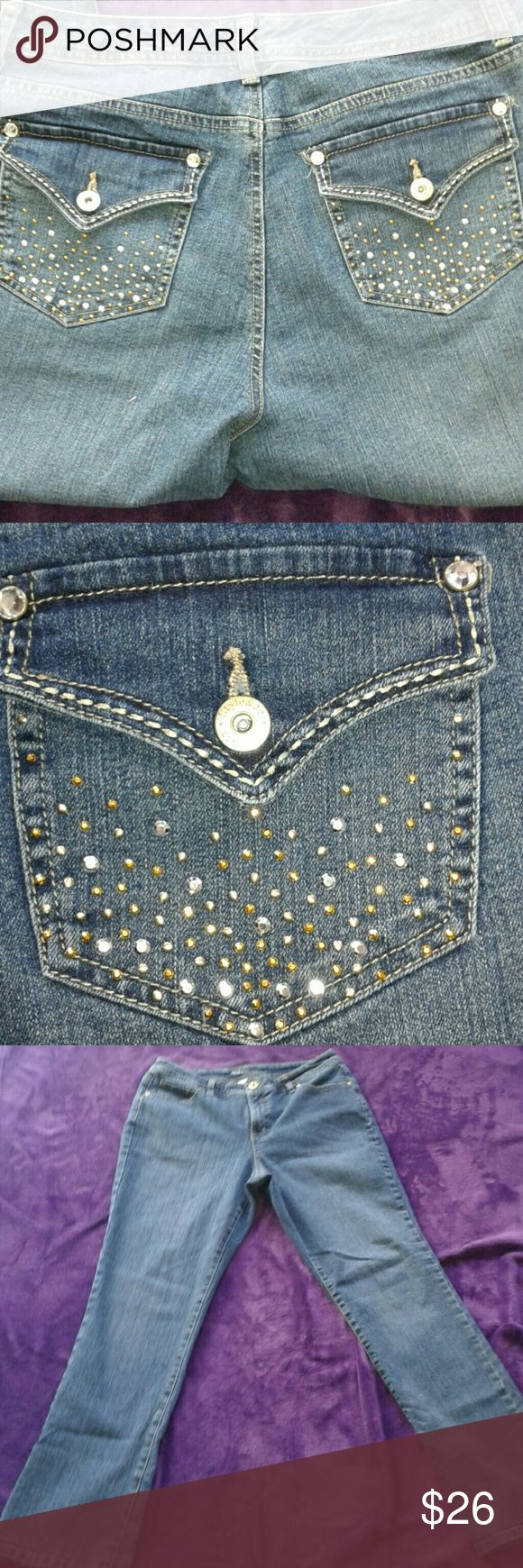 Curvy Tummy Control Style & Co Rhinestone Jeans These jeans are from Style & Co.  They are a size 12 with the Curvy Tummy Control Modern Boot style with gorgeous rhinestone embellishments on both back pockets with both silver and gold emblishments and crystal facets.  They are in a medium blue Jean wash, bottom of Jean hems have no fraying, jeans are in great condition from a smoke free home.  I ship fast, 5 star seller.  Inseam 32.5 inches Size 12   Happy Poshing loves! Style & Co Jeans…
