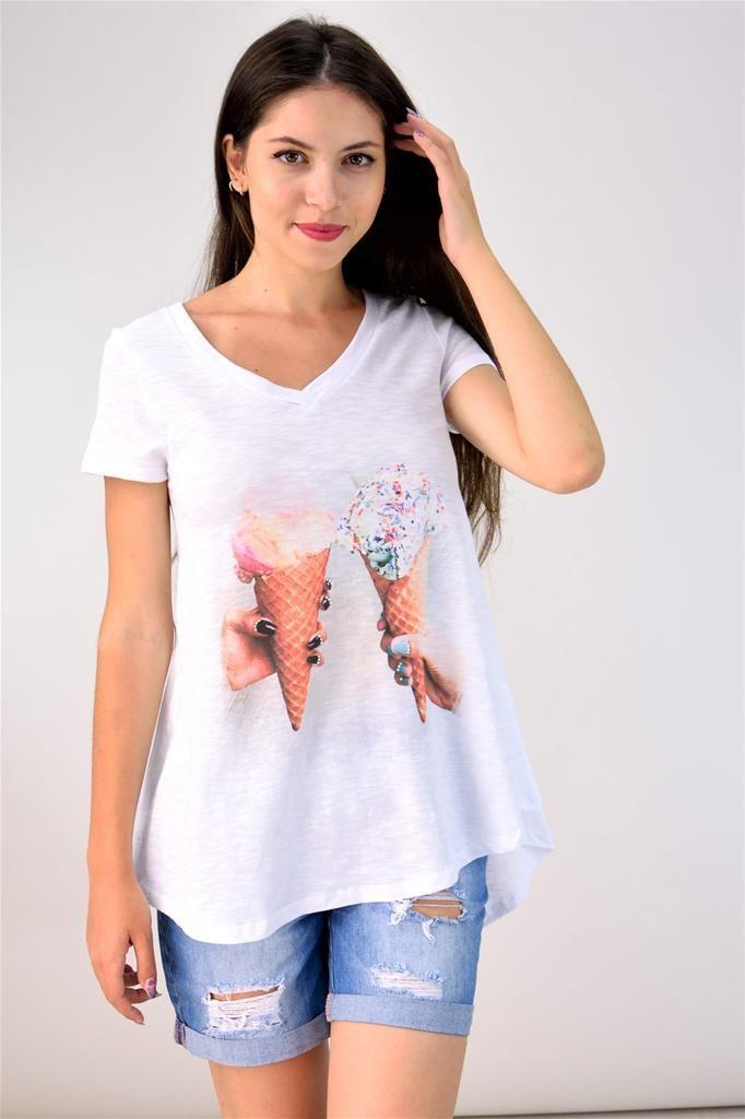 Potre – Αμάνικη μπλούζα με ψηφιακό τύπωμα και strass
