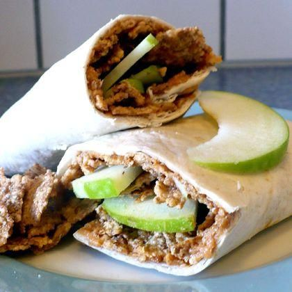 """Crunchy Peanut Butter Wraps: """"""""A great way to eat peanut butter and apples! The granola gives it a little crunch, and the wrap makes it easy to take to work."""" -iewe"""