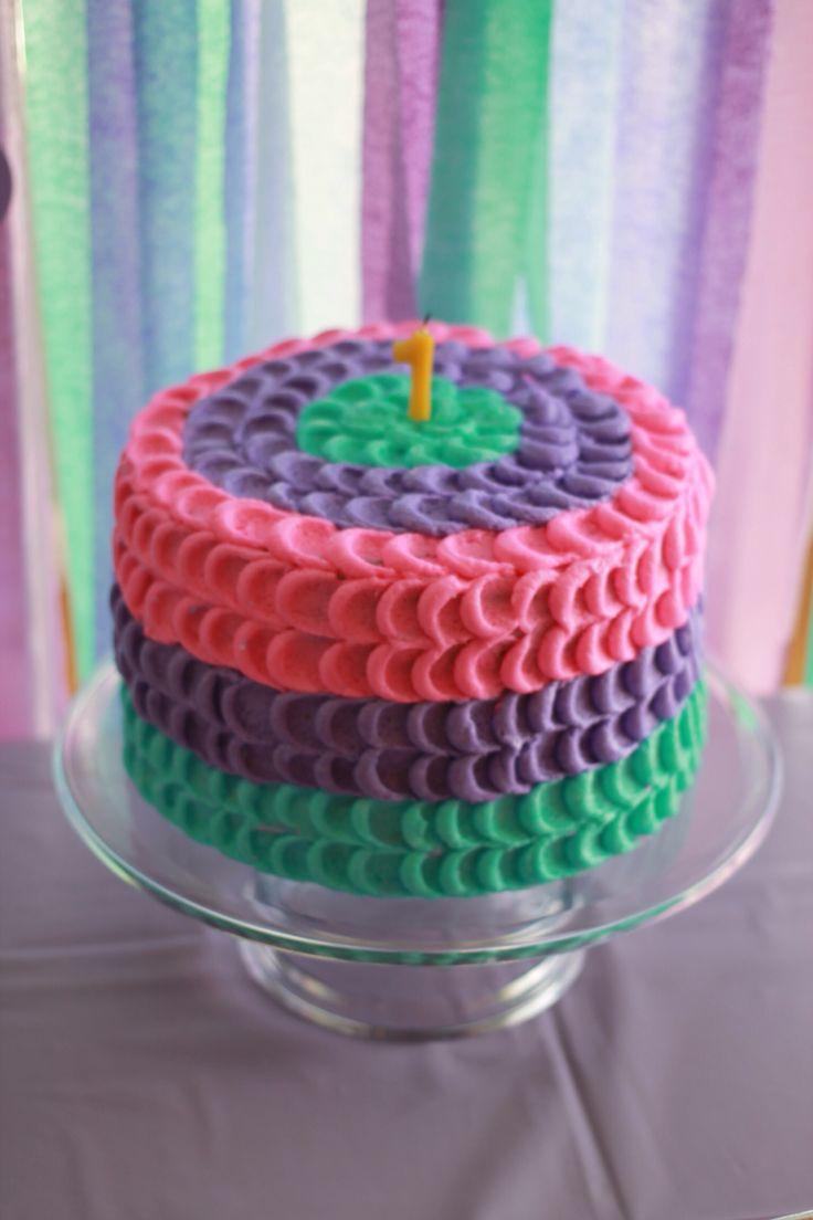 Purple Pink Teal Petal Cake I Brandy Made For Kara S