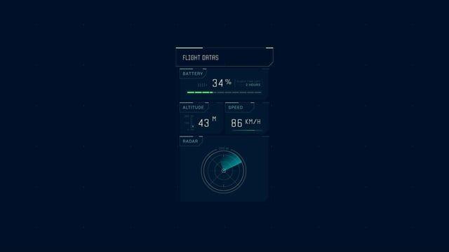 Flight Datas - Futuristic UI animation from the Vigilante Drone serie