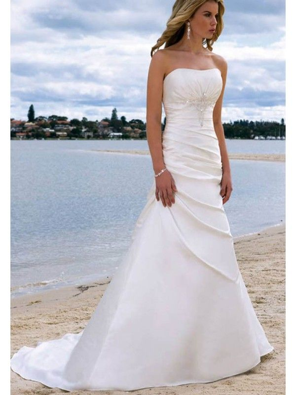 A Line Princess Sleeveless Satin Chapel Train Wedding Dresses Strapless Beading Ruffles Lace