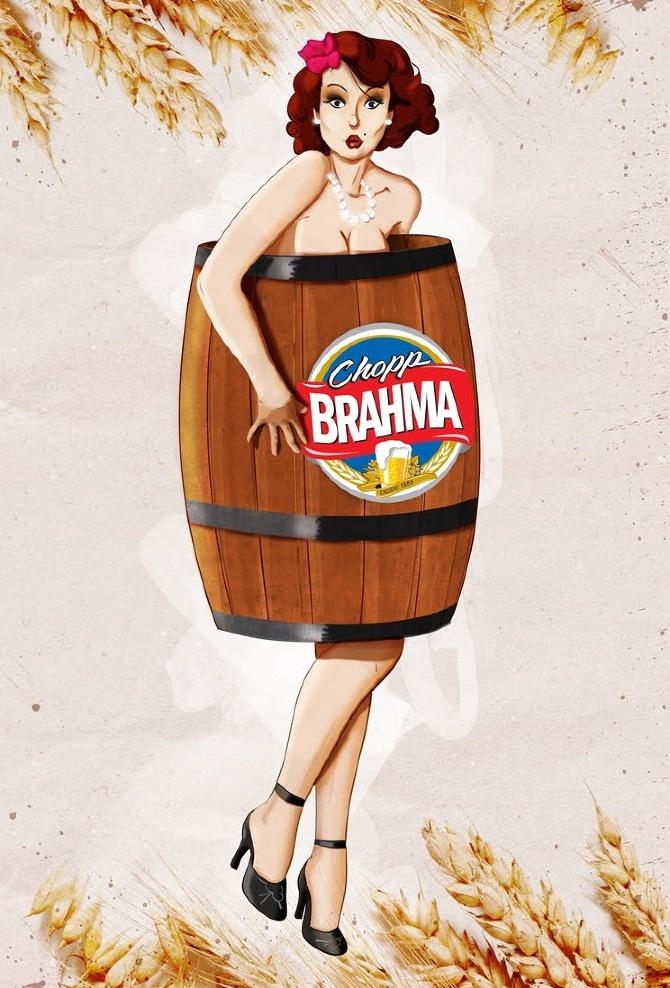 Ilustração desenvolvida para Brahma - Porta banheiro feminino
