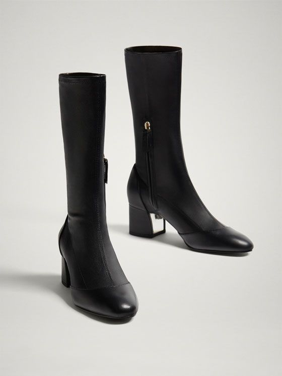 b8017135ed25 BLACK NAPPA LEATHER STRETCH ANKLE BOOTS - Women - Massimo Dutti | My ...