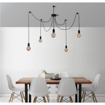 Suspension Spider Lamp - 5 globes - noir - Filament Style