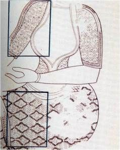 Σε μερικές απεικονίσεις γυναικείων μορφών συναντάται ένα μακρύ φόρεμα χωρίς ζώνη, που όμως διαγράφει το σώμα. Στη λεγόμενη «σαρκοφάγο της Αγίας Τριάδας» (του 1400 π. Χ.) εικονίζονται γυναίκες και άνδρες με τέτοια ενδύματα κατά τη διάρκεια μιας σημαντικής τελετουργίας με εσχατολογικό περιεχόμενο.