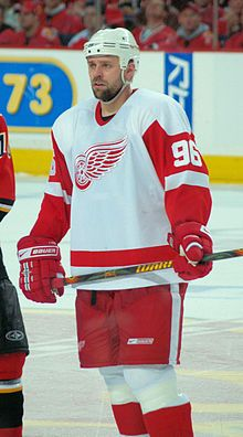 Tomas Holmström (born 23 January 1973) is a retired Swedish ice hockey left winger who played for the Detroit Red Wings of the National Hockey League (NHL), where he has won four Stanley Cup championships. He is widely considered as one of the best in the game at screening goalies and causing havoc in front of the net.