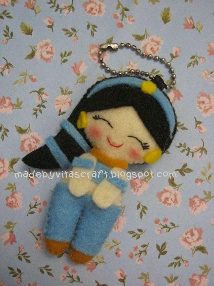 Jasmine Disney Princess Felt Doll Keychain