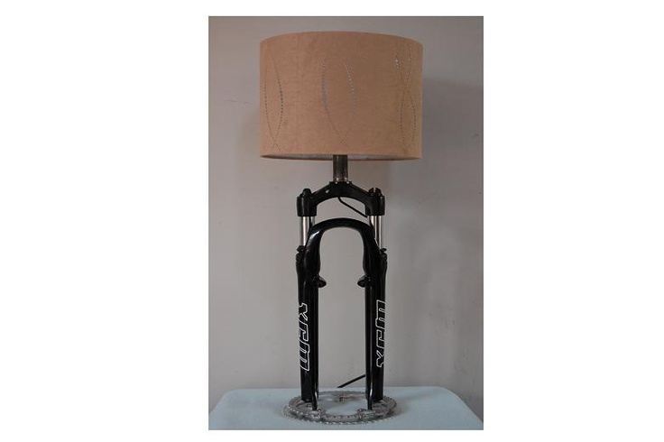 Recycled Bicycle Front Shocks Table Lamp Find you next Bicycle @ http://www.wocycling.com/