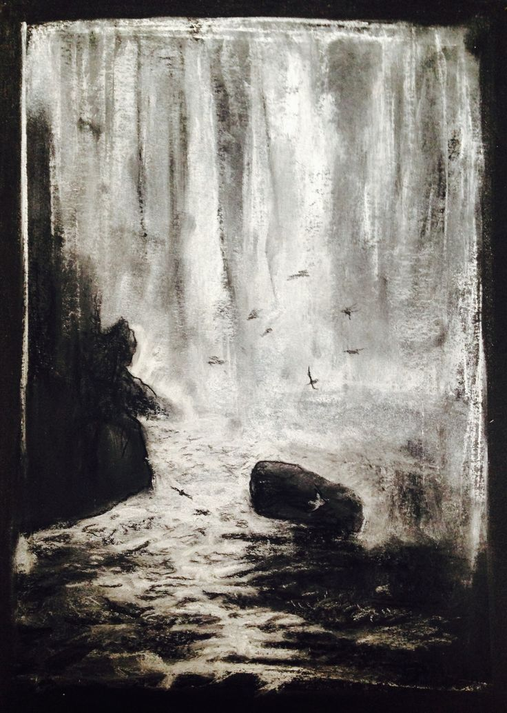 Waterfalling into the sea, chalk pastel on black paper.