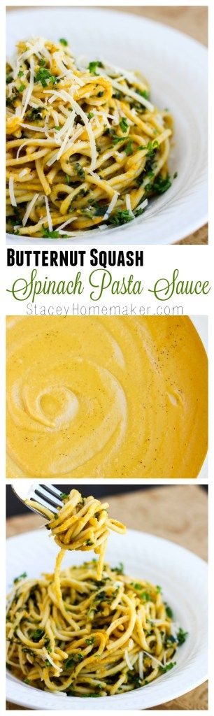 Toss your noodles in this extra creamy butternut squash spinach sauce, that's ready in less than 30 minutes!  It's the best pasta sauce for fall!